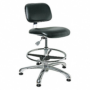 "Vinyl Cleanroom Pneumatic Task Chair with 19"" to 26-1/2"" Seat Height Range and 300 lb. Weight Capaci"