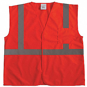 Silver Stripe Traffic Vest, ANSI 2, Hook-and-Loop Closure, S/M