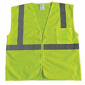 Yellow/Green with Silver Stripe Traffic Vest, ANSI 2, Zipper Closure, S