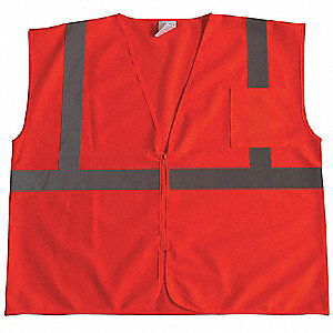 Orange/Red with Silver Stripe Traffic Vest, ANSI 2, Zipper Closure, S
