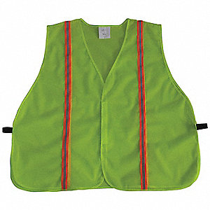 Yellow/Green with Silver Stripe Traffic Vest, ANSI Unrated, Hook-and-Loop Closure, 3XL