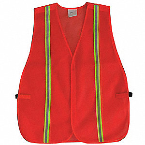 Orange/Red with Silver Stripe Traffic Vest, ANSI Unrated, Hook-and-Loop Closure, Universal