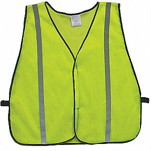 Yellow/Green with Silver Stripe Traffic Vest, ANSI Unrated, Hook-and-Loop Closure, 2XL/3XL