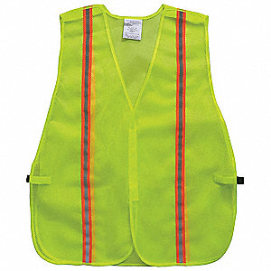 Yellow/Green with Silver Stripe Traffic Vest, ANSI Unrated, Hook-and-Loop Closure, Universal