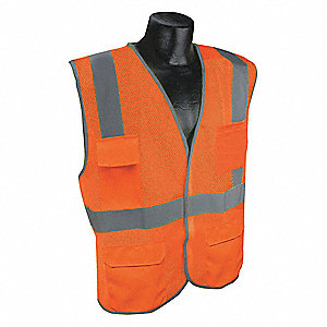 Orange/Red with Silver Stripe Traffic Vest, ANSI 2, Hook-and-Loop Closure, 2XL/3XL
