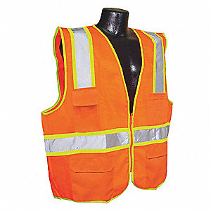 Orange/Red with Silver Stripe Traffic Vest, ANSI 2, Zipper Closure, 3XL