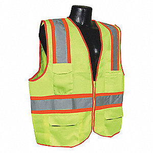 Yellow/Green with Silver Stripe Traffic Vest, ANSI 2, Zipper Closure, 4XL