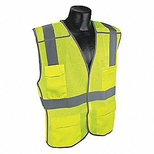 Yellow/Green with Silver Stripe Breakaway Vest, ANSI 2, Hook-and-Loop Closure, S/M