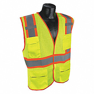 Yellow/Green with Silver Stripe Traffic Vest, ANSI 2, Hook-and-Loop Closure, 2XL/3XL