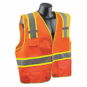 Orange/Red with Silver Stripe Traffic Vest, ANSI 2, Hook-and-Loop Closure, 4XL/5XL