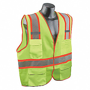 Yellow/Green with Silver Stripe Traffic Vest, ANSI 2, Hook-and-Loop Closure, S/M