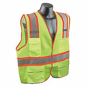 Yellow/Green with Silver Stripe Traffic Vest, ANSI 2, Hook-and-Loop Closure, L/XL