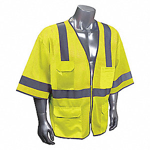 Yellow/Green with Silver Stripe Traffic Vest, ANSI 3, Zipper Closure, XL