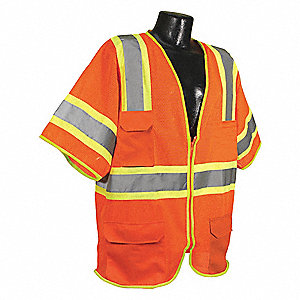 Orange/Red with Silver Stripe Traffic Vest, ANSI 3, Zipper Closure, 2XL