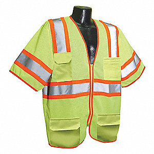 Yellow/Green with Silver Stripe Traffic Vest, ANSI 3, Zipper Closure, S