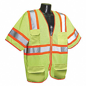 Yellow/Green with Silver Stripe Traffic Vest, ANSI 3, Zipper Closure, 5XL