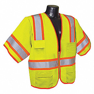 Yellow/Green with Silver Stripe Traffic Vest, ANSI 3, Zipper Closure, M