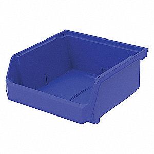 "Hang and Stack Bin, Blue, 11"" Outside Length, 11"" Outside Width, 5"" Outside Height"