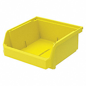 "Hang and Stack Bin, Yellow, 11"" Outside Length, 11"" Outside Width, 5"" Outside Height"