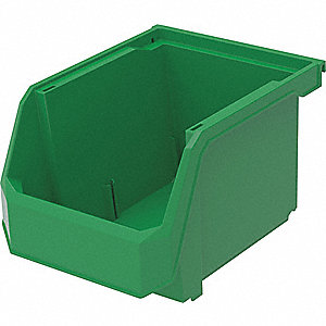 "Hang and Stack Bin, Green, 11"" Outside Length, 8-1/4"" Outside Width, 7"" Outside Height"