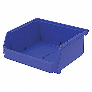 "Hang and Stack Bin, Blue, 14-3/4"" Outside Length, 16-1/2"" Outside Width, 7"" Outside Height"