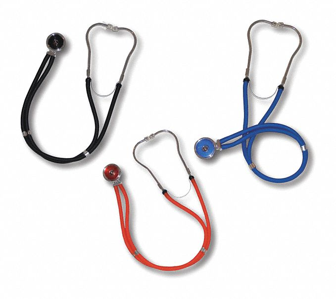 Stethoscope,  Dual Head,  32 in Length,  Adult,  Black,  Disposable No
