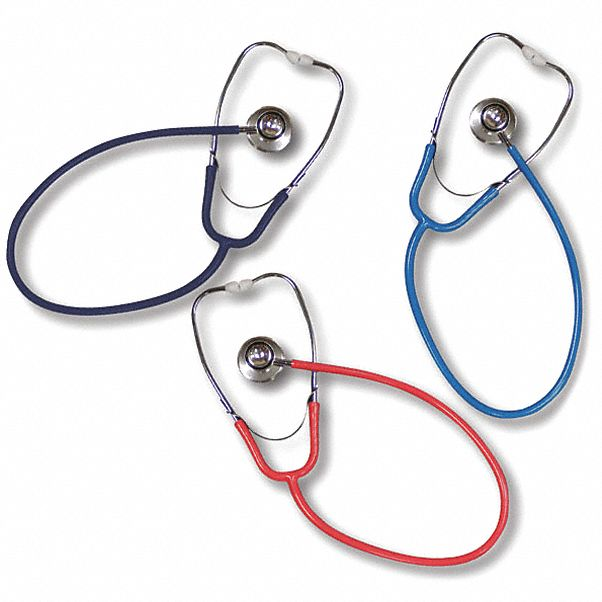 Stethoscope,  Dual Head,  32 in Length,  Adult,  Blue,  Disposable No