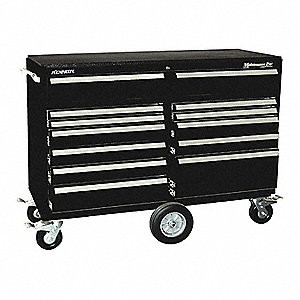 "Black Heavy Duty Tool Cabinet, 43-1/8"" H X 57-1/4"" W X 20"" D, Number of Drawers: 12"
