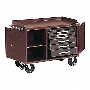 "Brown Heavy Duty Tool Cabinet, 39-1/2"" H X 48-1/8"" W X 26"" D, Number of Drawers: 6"