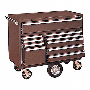 "Brown Heavy Duty Tool Cabinet, 37-5/8"" H X 43-3/4"" W X 20"" D, Number of Drawers: 10"