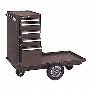 "Brown Heavy Duty Tool Cart, 36-5/8"" H X 41-1/8"" W X 18-3/8"" D, Number of Drawers: 5"