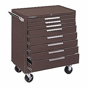 "Brown Heavy Duty Tool Cabinet, 33-1/8"" H X 34"" W X 20"" D, Number of Drawers: 8"