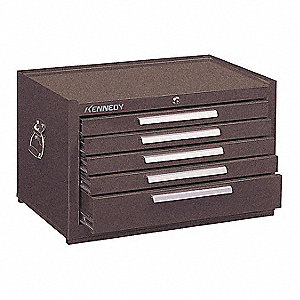 "Brown Heavy Duty Top Chest, 16-1/2"" H X 27"" W X 18"" D, Number of Drawers: 5"