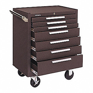 "Brown Heavy Duty Tool Cabinet, 35"" H X 27"" W X 18"" D, Number of Drawers: 7"