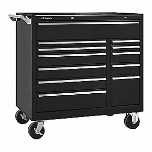 "Black Heavy Duty Tool Cabinet, 39"" H X 39-3/8"" W X 18"" D, Number of Drawers: 12"