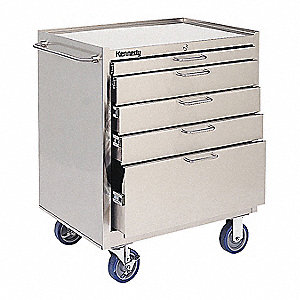 "Stainless Steel Heavy Duty Tool Cabinet, 35-5/16"" H X 29"" W X 20"" D, Number of Drawers: 5"