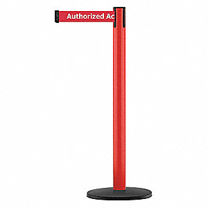 Barrier Post, Metal Post, Red Finish