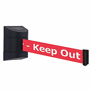 Barrier Post with Belt, Red with White Text, Danger - Keep Out