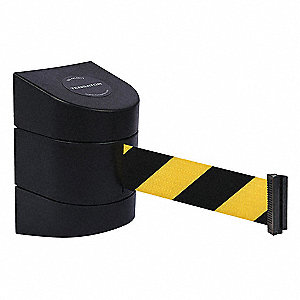 Barrier Post with Belt, Black and Yellow Diagonal Striped, None