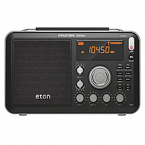 "Digital Mini Shortwave Radio, Black, AM/FM/SW, Width 6-29/32"", Height 12-13/32"", Depth 3"""