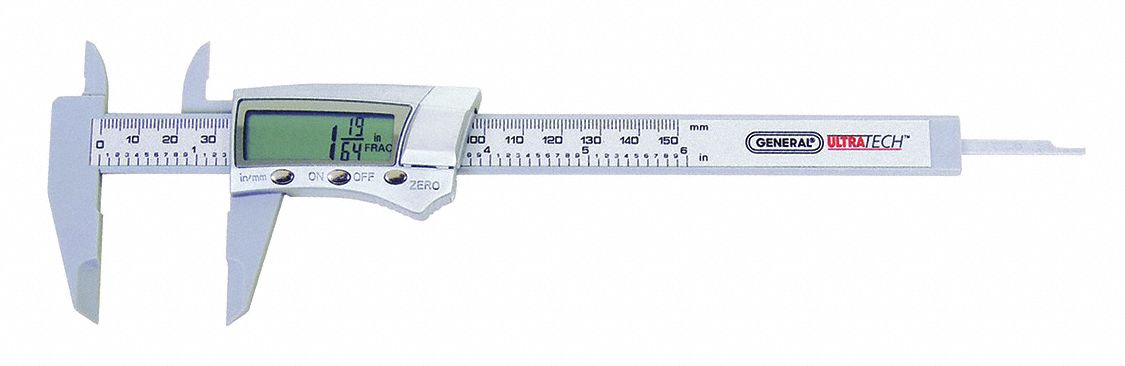 Fractional-Display Digital Caliper,  Range 0 in to 6 in, 0 mm to 153 mm,  IP Rating IP54