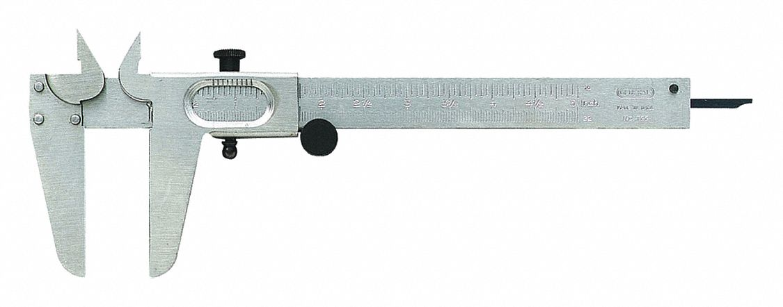 4-Way Vernier Caliper,  Range 0 in to 5 in, 0 mm to 127 mm,  Graduations 0.1 mm