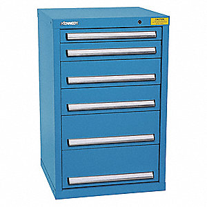 "Stationary Desk or Table Height Modular Drawer Cabinet, 6 Drawers, 25-1/2""W x 24-1/4""D x 39-3/4""H"