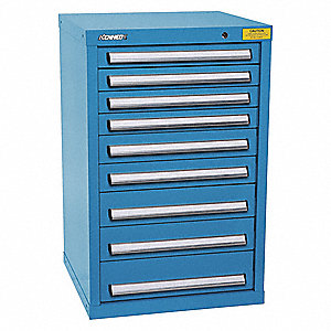 "Stationary Desk or Table Height Modular Drawer Cabinet, 9 Drawers, 25-1/2""W x 24-1/4""D x 39-3/4""H"