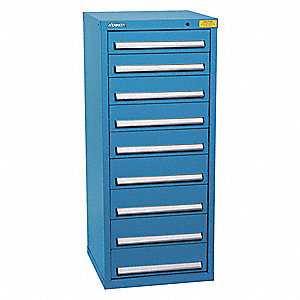 "Stationary Full Height Modular Drawer Cabinet, 9 Drawers, 25-1/2""W x 24-1/4""D x 59-1/2""H"