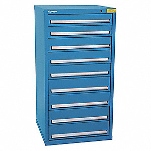 "Stationary Full Height Modular Drawer Cabinet, 9 Drawers, 31""W x 29-3/4""D x 59-1/2""H Bright Blue"