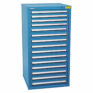 "Stationary Full Height Modular Drawer Cabinet, 15 Drawers, 31""W x 29-3/4""D x 59-1/2""H Bright Blue"