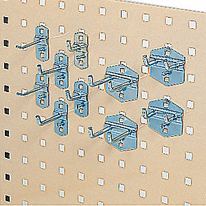 Steel Pegboard Hook Assortment Kit, Hanging Mounting Type, Silver, Finish: Bright Zinc