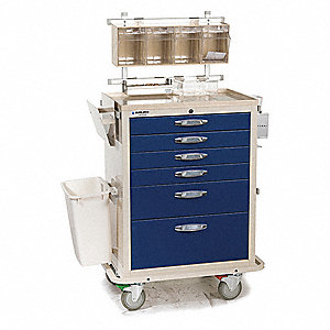 "39""D x 26""W x 63-1/2""H Steel Anesthesia Cart, 1400 lb. Load Capacity"