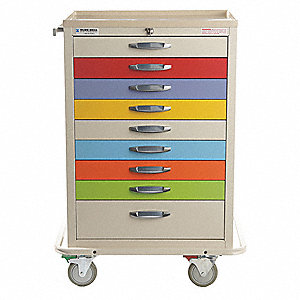 "20-1/2""D x 32""W x 44-1/2""H Steel Pediatric Cart, 1400 lb. Load Capacity"